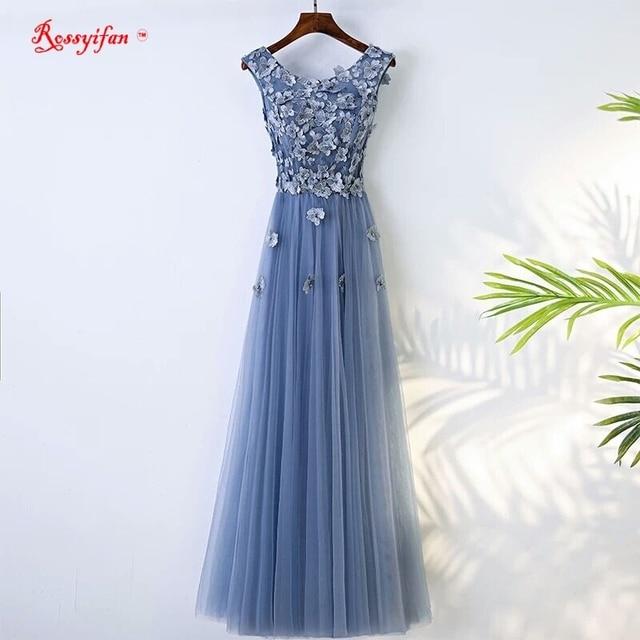 Abendkleider 2017 Scoop Ausschnitt Blau Abendkleid Lange Frauen ...