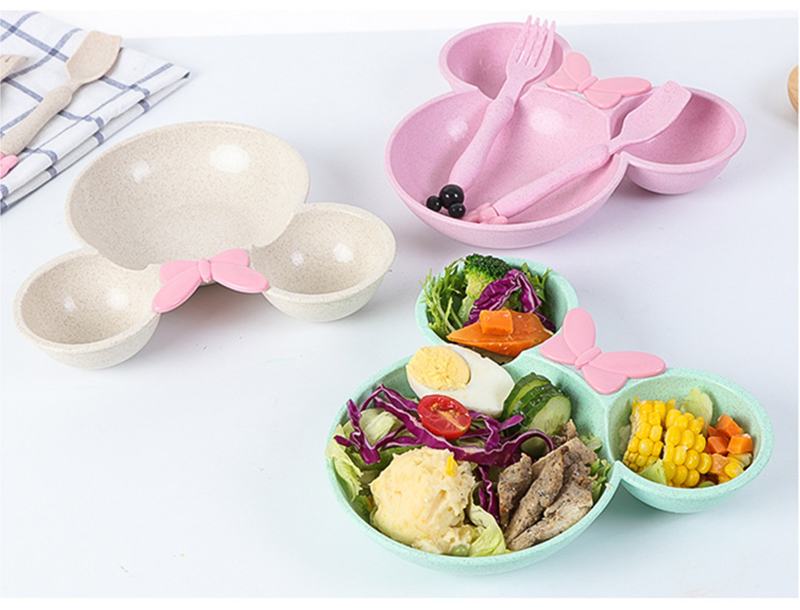 3 PcsSet Baby Food Storage Bamboo Tableware Solid Cute Dishes Kids Plate Bowl Eco-friendly Children Training Dinnerware BB5077 (7)