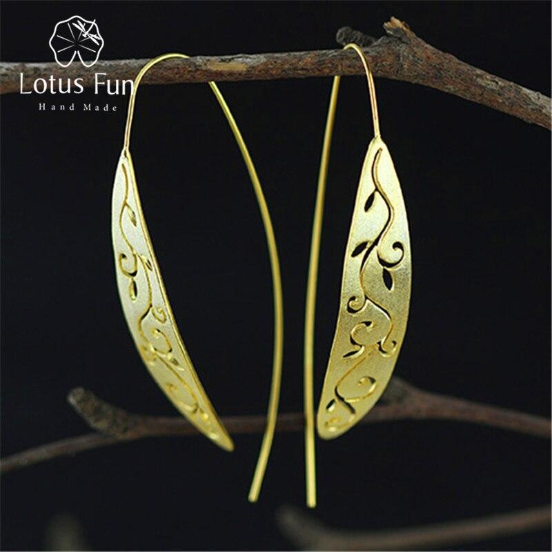 Lotus Fun Real 925 Sterling Silver Natural Original Handmade Fine Jewelry Vintage Ethnic Long Leaf Drop Earrings for Women pair of rhinestone embellished lotus leaf shape drop earrings