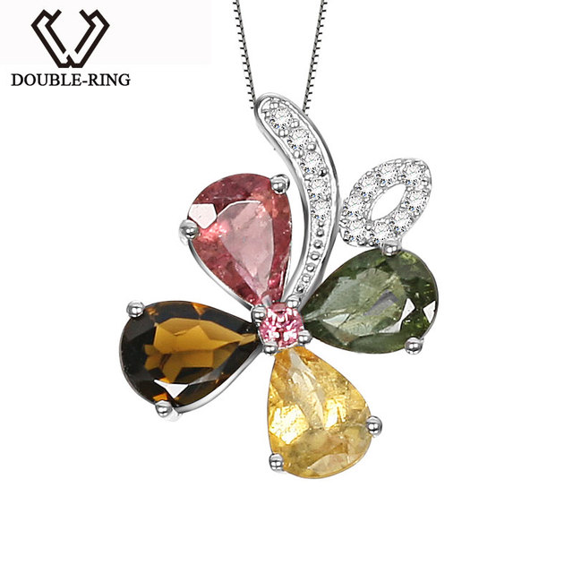 DOUBLE-R Natural Tourmaline Pendant Silver 925 Female Flower Necklaces & Pendants Valentine'S Day Gift Gemstone Fine Jewelry