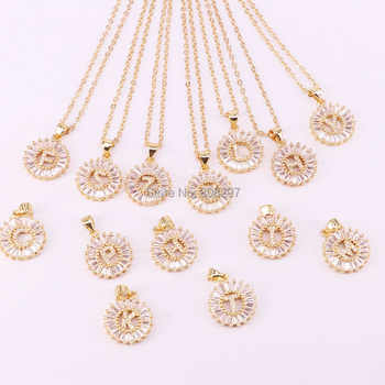 10Pcs chic round shape mirco pave cz charm letter Pendant necklace - DISCOUNT ITEM  20% OFF All Category