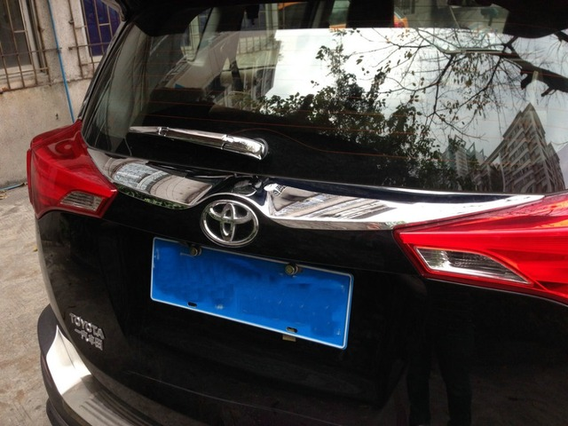 Auto rear  up   trunk trim, tail door sticker for  RAV4  2014-2015 abs chrome,auto accessories