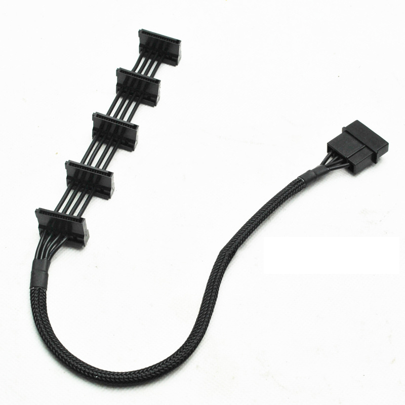 High Quality 1 Pcs Practical Durable PC Server 4 Pins IDE Molex 1 To 5 SATA Power Cable Adapter Splitter Cables 18AWG Black 40cm