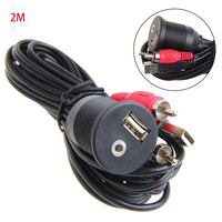 Car Dashboard Flush Mount USB Port 3 5mm Audio To USB Male 2 RCA Plug Cable