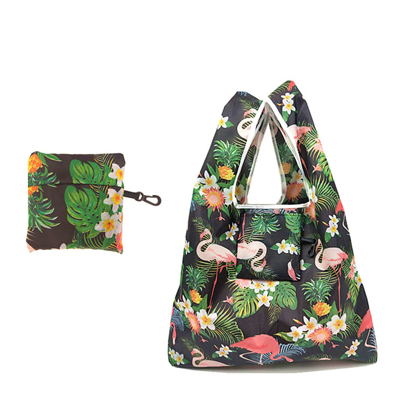 Tote-Pouch Storage-Bag Grocery Eco Flamingo Foldable Women Cute Animal
