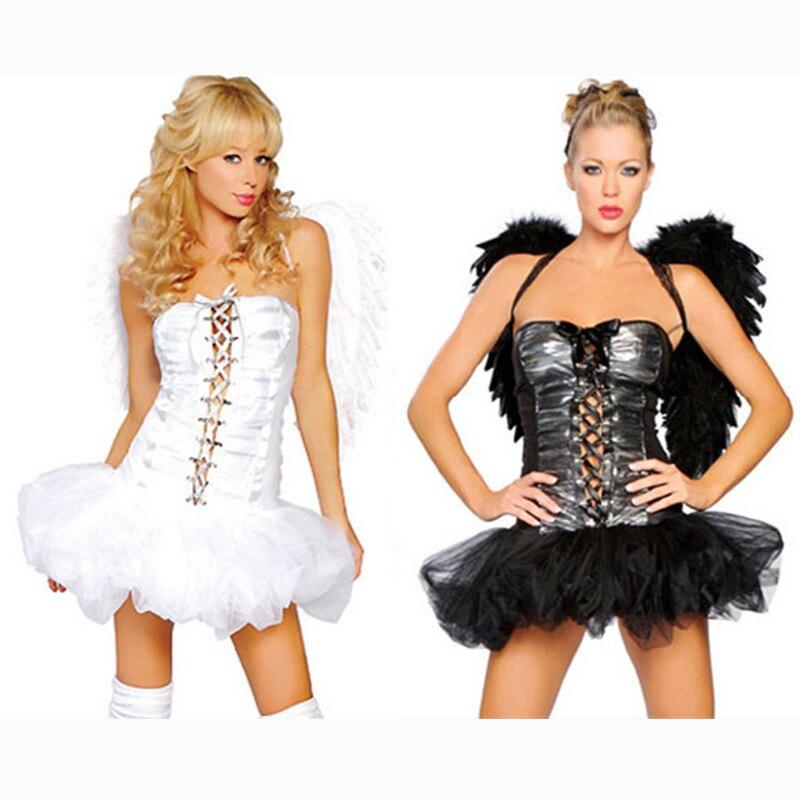 Women's Dark Evil Fallen Angel Halloween Costume Black
