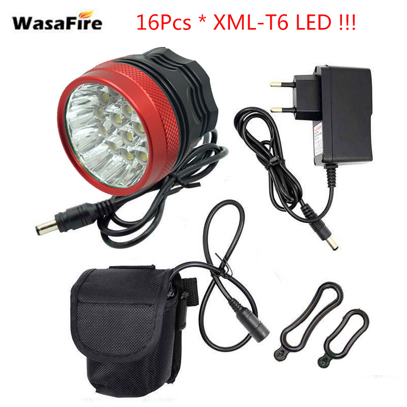 WasaFire 16 xT6 LED Bicycle Light 40000 Lumen front Head lamp with 9600mAh Batteries Riding Cycling