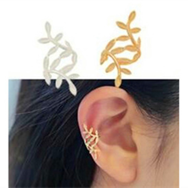 Fashion 1PC Sliver Gold Color Leaf Shape Punk Ear Cuff Earrings No Piercing Earcuffs Clip Earrings For Women Clips Party Jewelry