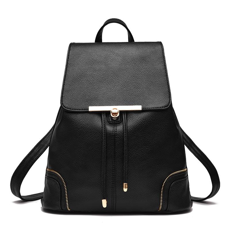 PU Leather Backpack for Teenager Girls Boys Black Shoulder Bags Tote Mujer Mochila Escolar Schoolbag Travel