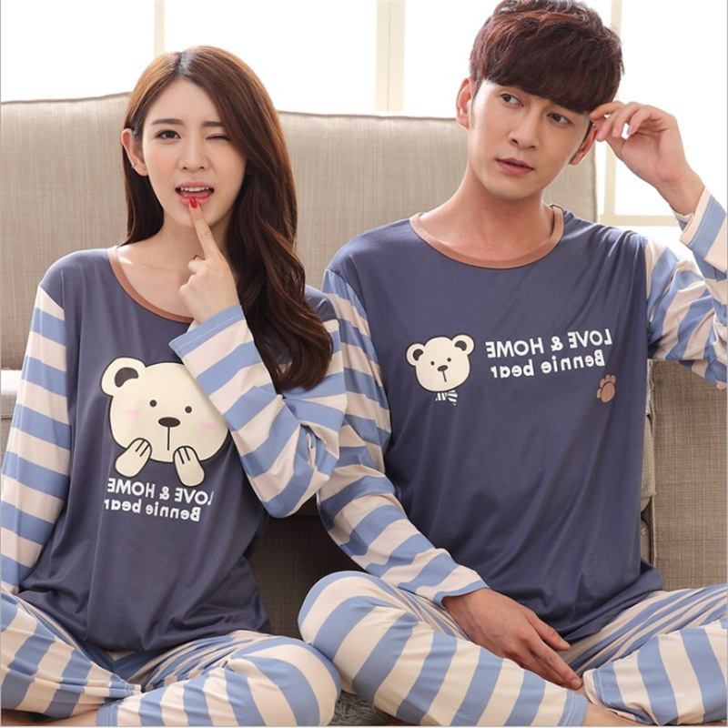 Womens Pajamas Sets Long Sleeve Cartoon Couple Pajama Sets Women Pajama Set Casual Indoor Clothing Pyjamas Women Nightwear