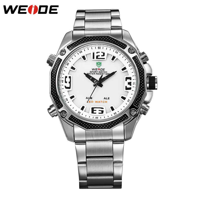 WEIDE Men Sports Watches Waterproof Military Quartz Digital Watch Alarm  Dual Time Zones Brand New relogios masculinos WH2306