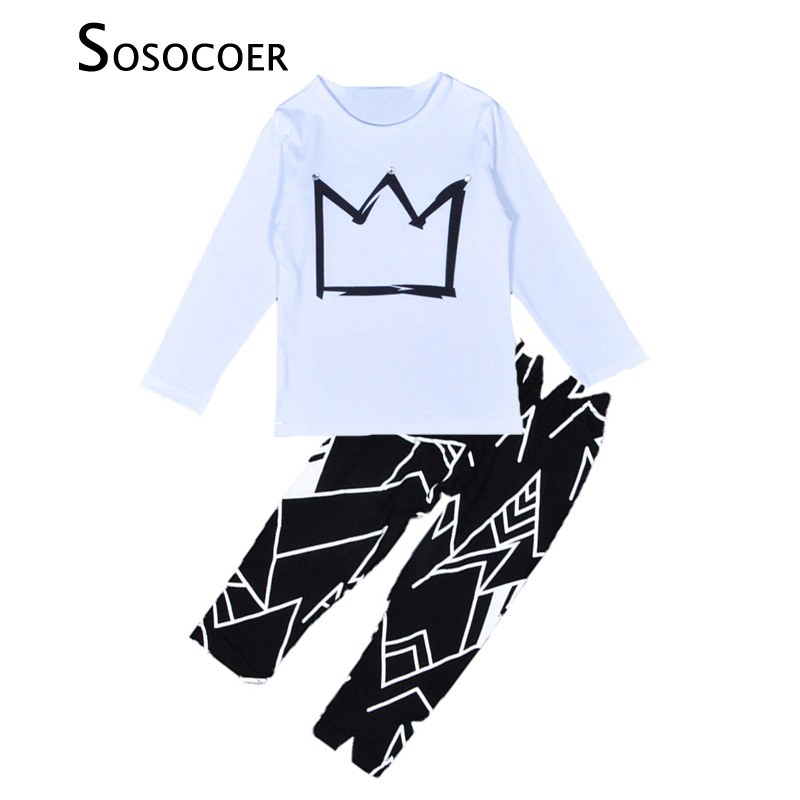 SOSOCOER Baby Boy Clothes Sets Crown Pattern White Long T Shirt+Black Geometry Pants Autumn 2pcs Cartoon Kids Boys Clothing Set