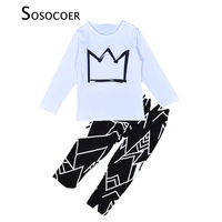 Hot Sale Boy Clothes Sets Crown Pattern White Long T Shirt Black Casual Pants Cartoon