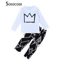 Hot Sale Boy Clothes Sets Crown Pattern White Long T Shirt Black Casual Pants Cartoon