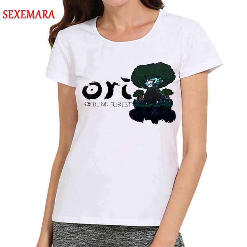 女性 Ori とブラインド森 Tシャツ女の子アニメ Ori とブラインド森ロゴ Tシャツトップ Tシャツ白ベース tシャツ女性のための