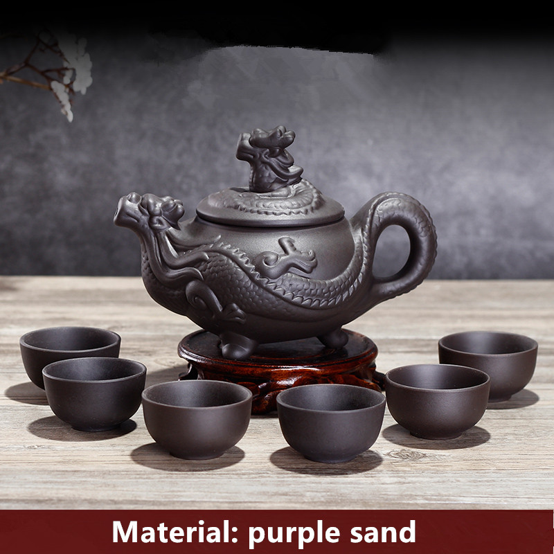 XING KILO Large Purple Teapot Set Filter Large Capacity Teapot Black Tea Pu'er Tea Kung Fu Tea Set Handmade Ceramic Art Teapot
