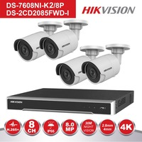 Hikvision 4 channel CCT IP System NVR KIT 8 Channel PoE Recorder DS 7608NI K2/8P & 4 pieces 8MP Bullet IP Camera DS 2CD2085FWD I
