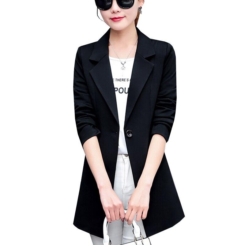 New Autumn Fashion Women Blazer Jacket Slim Fit WorkWear Suit Coat Ladies  Casual OL Office Long Blazers Plus Size Outwear SF361-in Blazers from  Women s ... 8b14c996ea