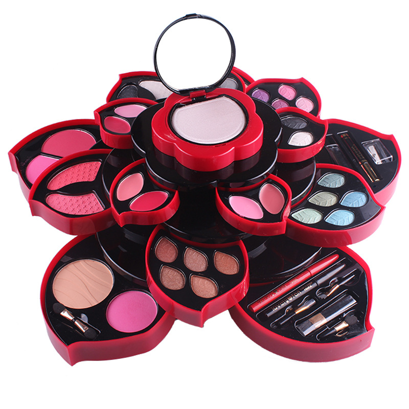 Professional Big Plum Flower Shape Eye Makeup Eyeshadow Palette Smoky Glitter Eye Shadow Rotating Set Cosmetic Case Make up Kit jyq 084 flower and leaves pattern eye shadow stickers set red green pair