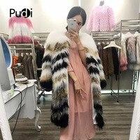 Pudi вязаное изделие из натурального меха енота пальто/куртка/пальто женская утепленная натуральная Меховые пальто Длинная стильная 170903