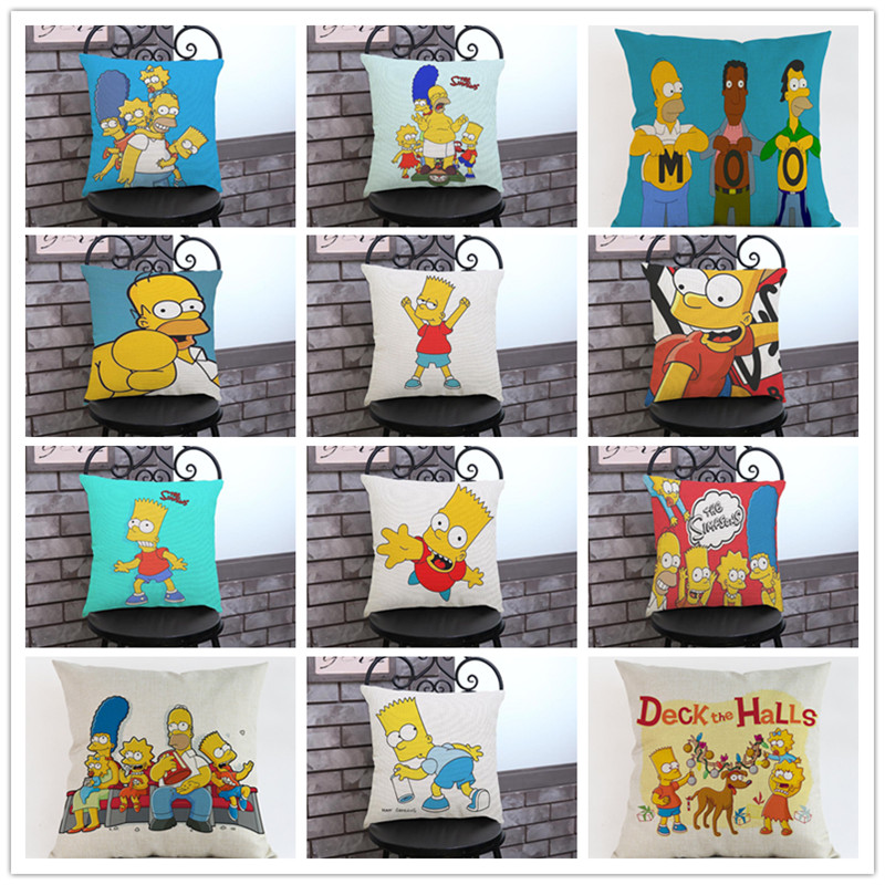 Family comedy humor The Simpsons Cartoon Character images pillow case Home decoration cu ...