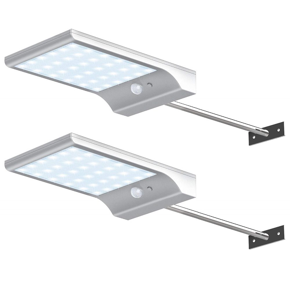 2pcs 3528 36 LEDs Solar Gutter Lights Wall Sconces with Mounting Pole Outdoor Motion Sensor Detector