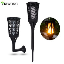 Solar Light Path Torches Dancing Flame Lighting 96 LED Dusk to Dawn Flickering Lamp Torches Outdoor Waterproof garden Decoration(China)