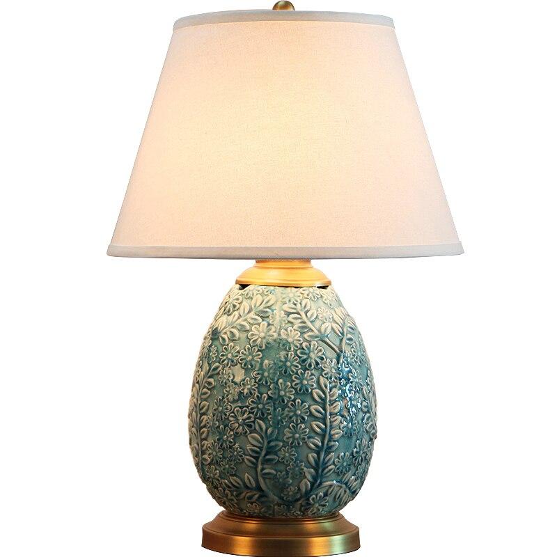 Ретро Творческий Средиземное море Резные Синий Керамика Ткань LED E27 диммер настольная лампа для Спальня прикроватной тумбочке Гостиная исс...