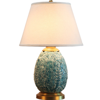 Retro Creative Mediterranean Sea Carved Blue Ceramic Fabric Led E27 Dimmer Table Lamp For Bedroom Bedside Living Room Study 1271
