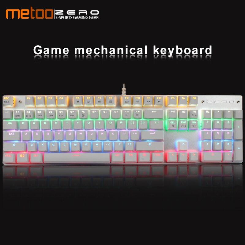 Metoo Original Gaming Mechanical Keyboard 87/104 Key Anti-ghosting Luminous Blue Switch LED Backlit USB Wired Keyboard For Gamer
