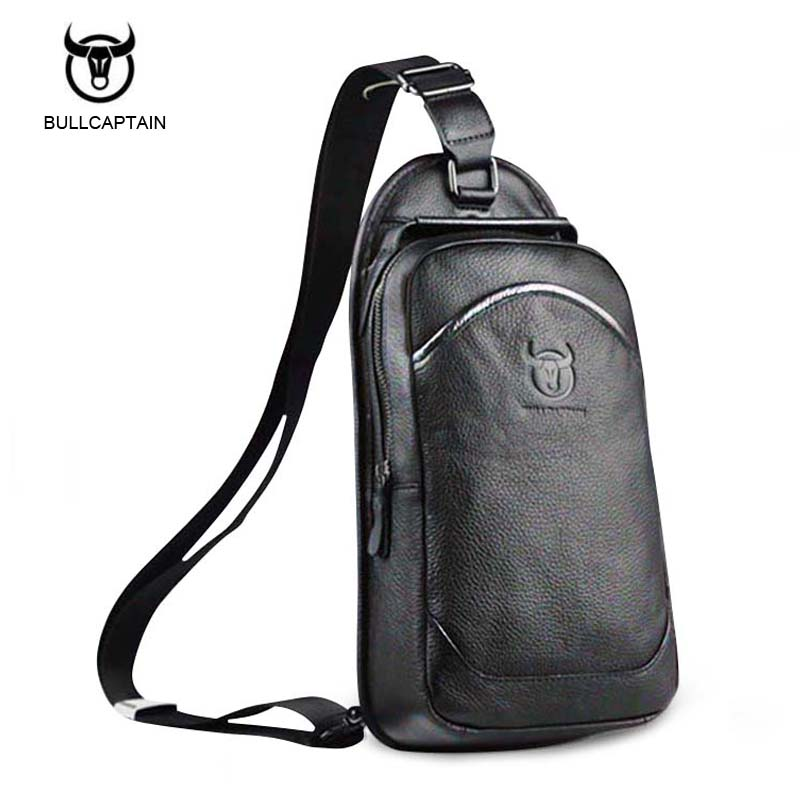 Bullcaptain 2017 New brand Designer Fashion Cow Genuine Leather Bag Sling Chest Pack Men Messenger Bags Vintage Shoulder Bags bullcaptain new arrival men chest bag genuine leather men bag brand designer leather messenger bags casual mens crossbody bags