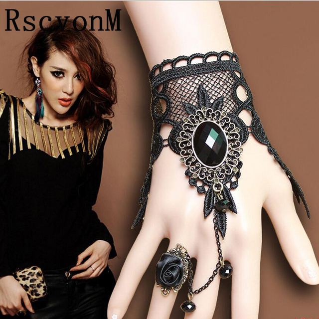 2018 Women Handmade Black Rhinestone Drop Black Lace Arm Bracelet Gothic & Vinta