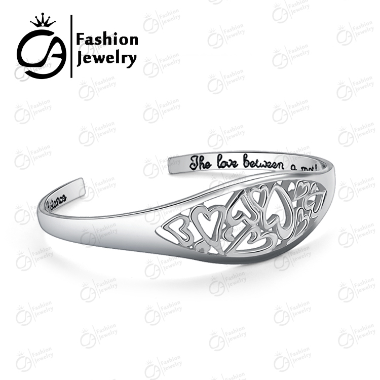 Fashion The Love between A Mother and Daughter Knows no distance Cuff Bracelet Bangle Women Mother