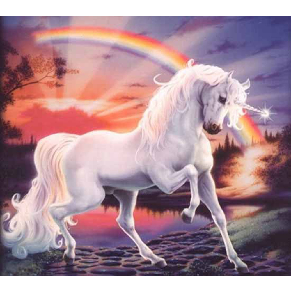 Needlework Diy Diamond Painting Cross Stitch Rainbow White Horse Resin Embroidery Full Square Animal Mosaic Picture Home Decor