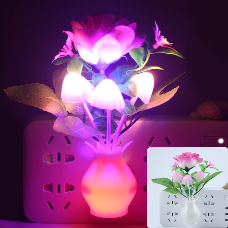 LED Colorful Flower Night Lights Luminous Lamp US/EU Plug Sensor Home Bedroom Decor Sensor Night Lamp Romantic Home Decoration