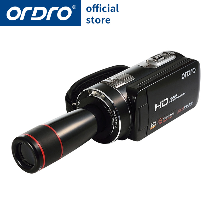 Ordro Camcorder HDV-Z18 Plus 1080P FHD Digital Video Camera Recording with 12X Teleconverter Remote Control HDMI Output