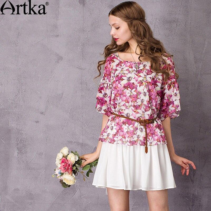ARTKA femmes 2018 été imprimé Floral mousseline de soie chemise mode o-cou Flare manches all-match chemise avec volants SA10378X