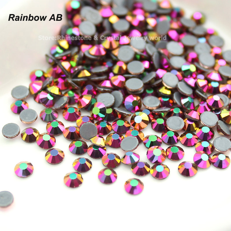 Rainbow AB Hot Fix Rhinestone SS16-SS30 (3,8-6,5mm) Crystal Glass Iron På Rhinestone För Kläder Wedding Decoration
