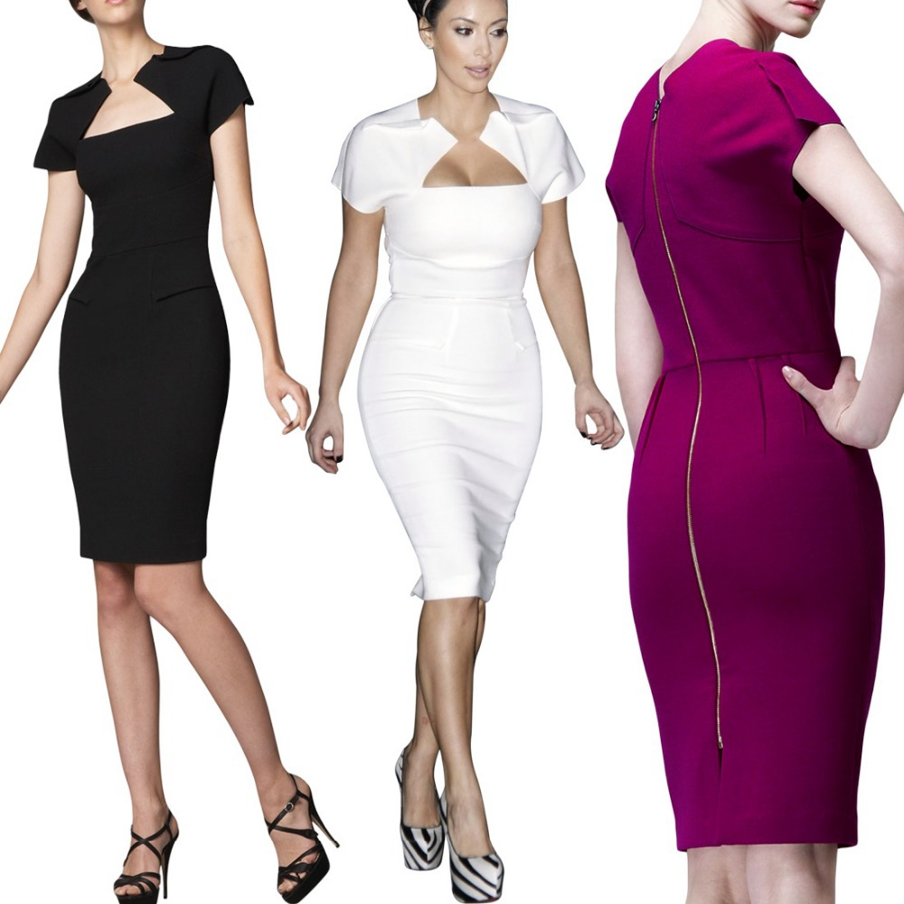 Womens Square Neck Pretty Ladies Bodycon Pencil Dress Cocktail party ...