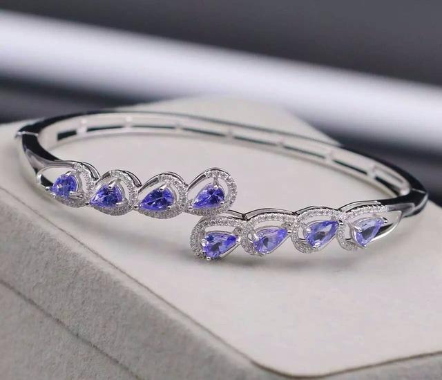 Verdadeiro clássico tanzanite gem pulseira de pedra pulseira de prata melhor presente para namorada nova moda jóia pulseira de prata