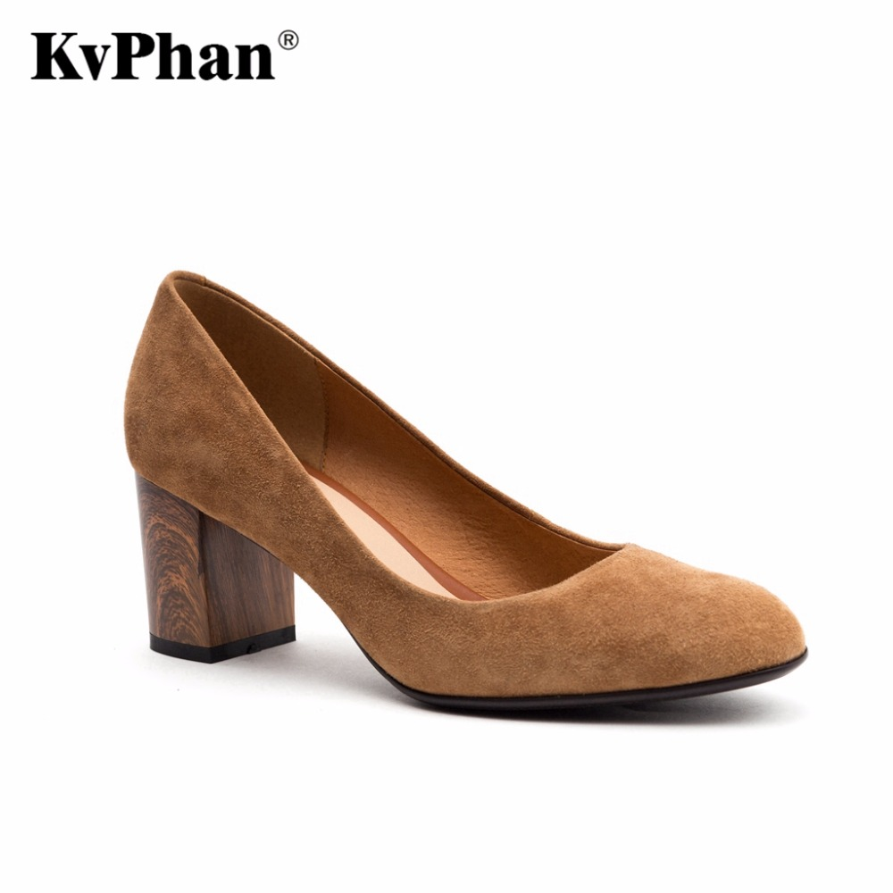 KvPhan Sheepskin Genuine Leather Pumps For Women Shoes Square Heel Luxury High Heels Round Toe Slip On Bridal Handmade Shoes low cut women s shoes genuine leather slip on women pumps round toe platform high heels vintage women wedge shoes