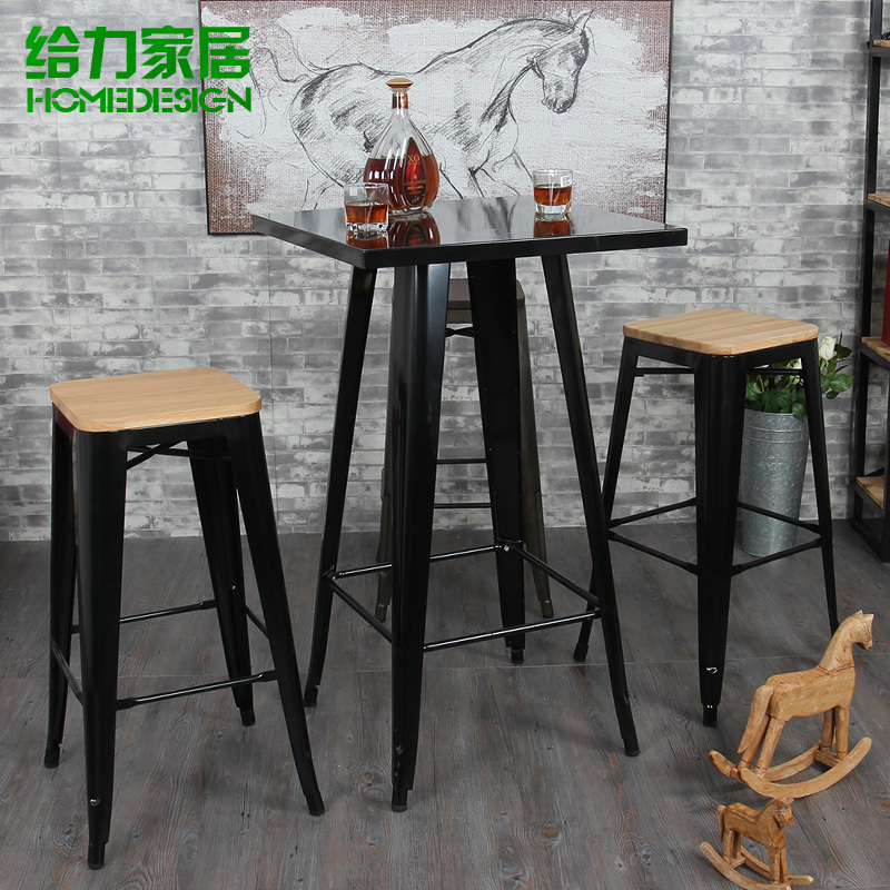 Iron fashion casual restaurant bar table small square for Table cuisine style bar