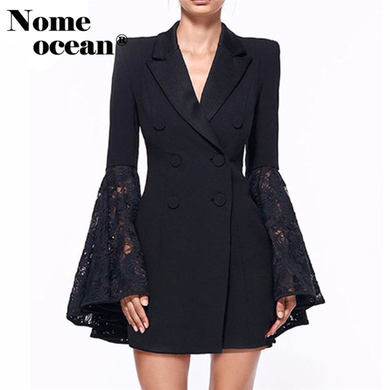 Runway Femmes Double-breasted Tricot Revers Col Blazer Jacket Coat Outwear