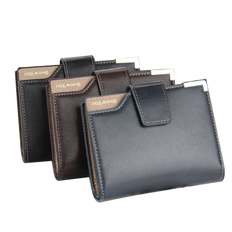 2017 Men Business PU Leather Multifunction Wallet Zipper Coin Pocket Purse Cards Holder Hasp Wallet Small Purses Popular