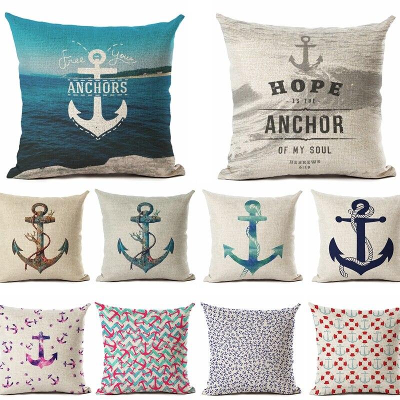 Nordic Style Cotton Linen Cushion Cover Anchor Pattern Marine Ship Throw Pillow Case Decorative Pillowcase Cojines Almofadas