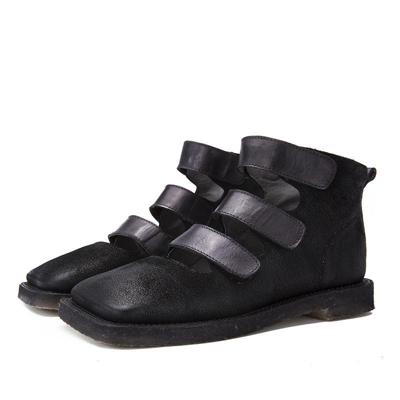 Dedo Hecho Cuadrado marrón Negro Botas Diseño Mano 2018 A Último Zapatos Planos Mujer Sandalias Correa Pie Del Y Bucle Cuero Botines Dama De Gancho Genuino Tobillo SxRvq
