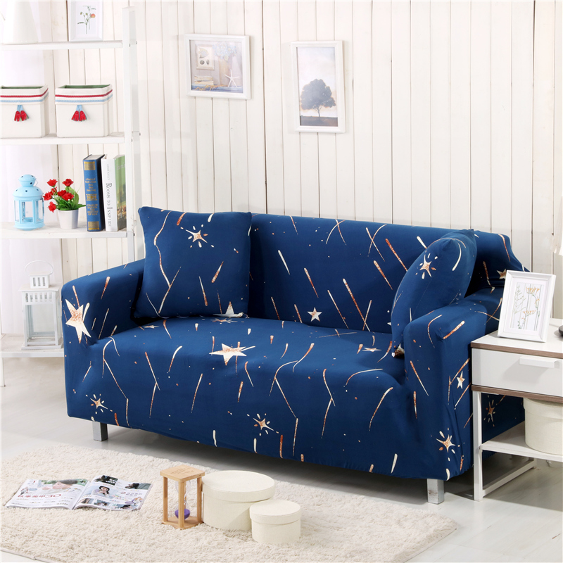 New Slipcover Stretch Sofa Cover Sofa With Loveseat Chair: Star Print Blue Sofa Covers Slipcover Stretch Four Season