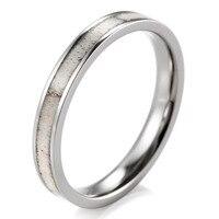 3mm Womens Elk Antler Inlay Stacking Titanium Ring Engagement Wedding Band