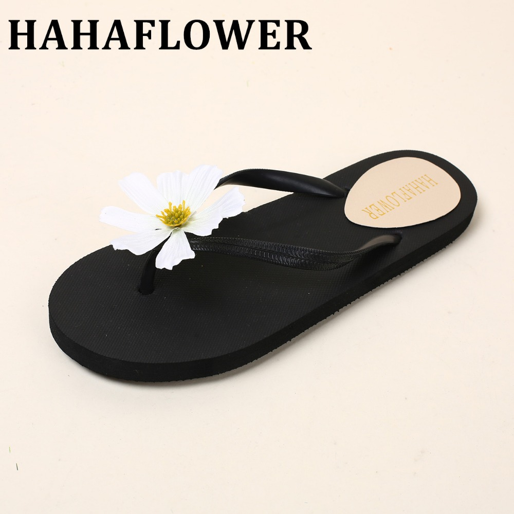 HAHAFLOWER Bohemia Flowers Woman Beach Flip Flops Summer Style Slides Slip- Resistant Slippers flat Shoes Woman lanshulan bling glitters slippers 2017 summer flip flops platform shoes woman creepers slip on flats casual wedges gold