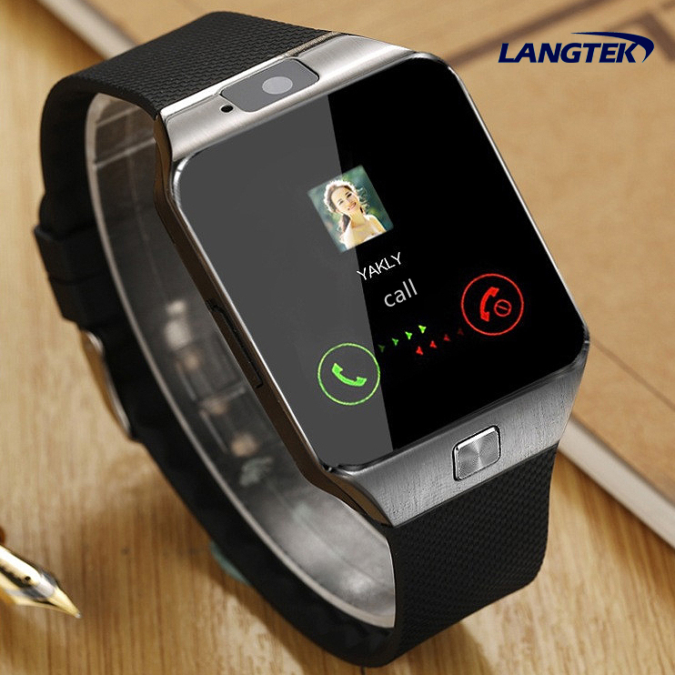 imágenes para Langtek bluetooth tarjeta tf soporte de tarjeta sim con cámara de smart watch dz09 podómetro reloj smartwatch para iphone android teléfono